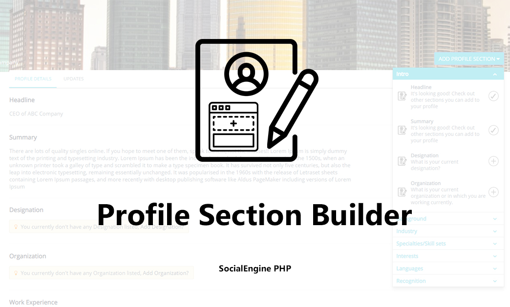 Profile Section Builder for SocialEngine